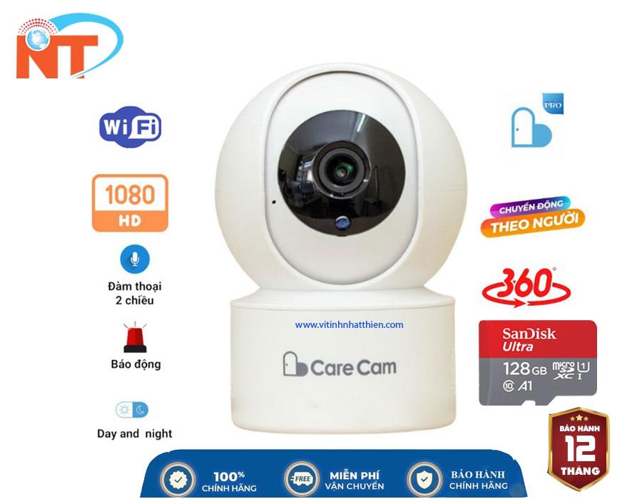 Camera Ip Wifi  trong nhà CareCam YH200  Full HD 1080P- Xoay Theo Chuyển Động - Đàm Thoại 2 Chiều