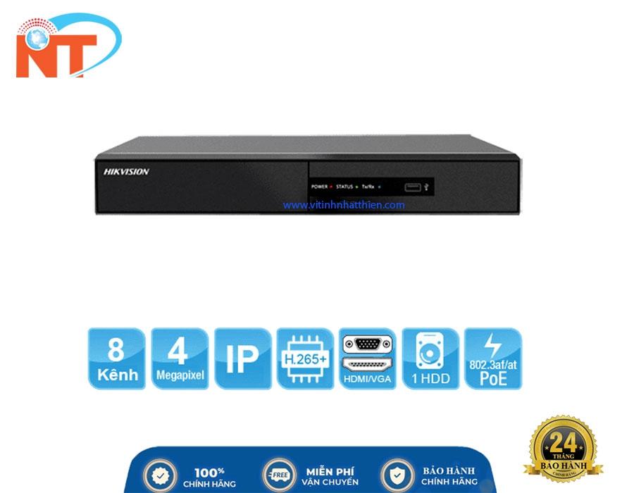 Đầu ghi camera IP 8 kênh HIKVISION DS-7108NI-Q1/8P/M HD 4MP, 1 Sata, HDMI, VGA, Hik-connect, 8 cổng PoE, H.265+
