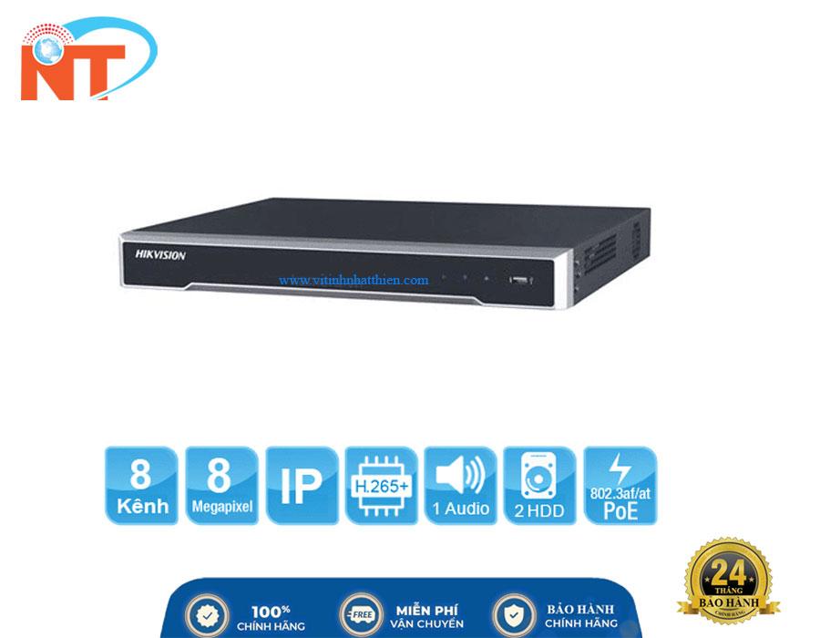 Đầu ghi camera IP 8 kênh HIKVISION DS-7608NI-K2 HD 8MP, 2 Sata, Audio/Alarm, Free DDNS