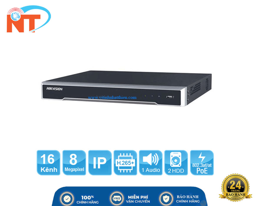 Đầu ghi camera IP 32 kênh HIKVISION DS-7616NI-K2 HD 8MP, 2 Sata, Audio/Alarm, Free DDNS