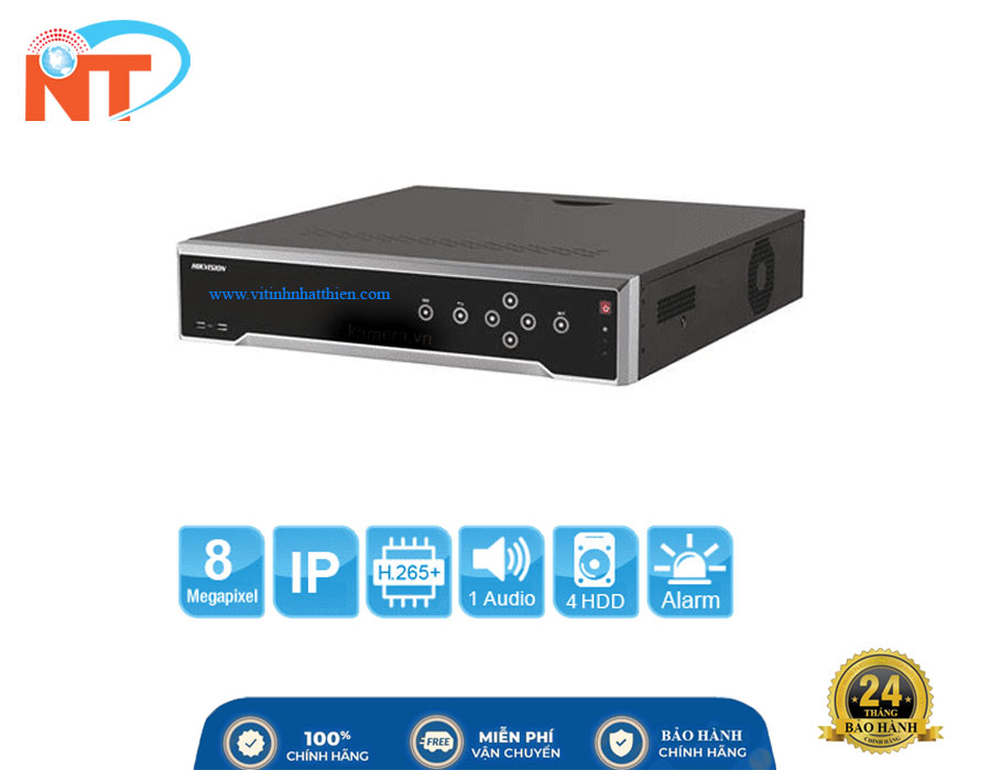 Đầu ghi camera IP 16 kênh Hikvision DS-7716NI-K4 HD 8MP, 4 Sata, Audio/Alarm, 2 LAN 1GB