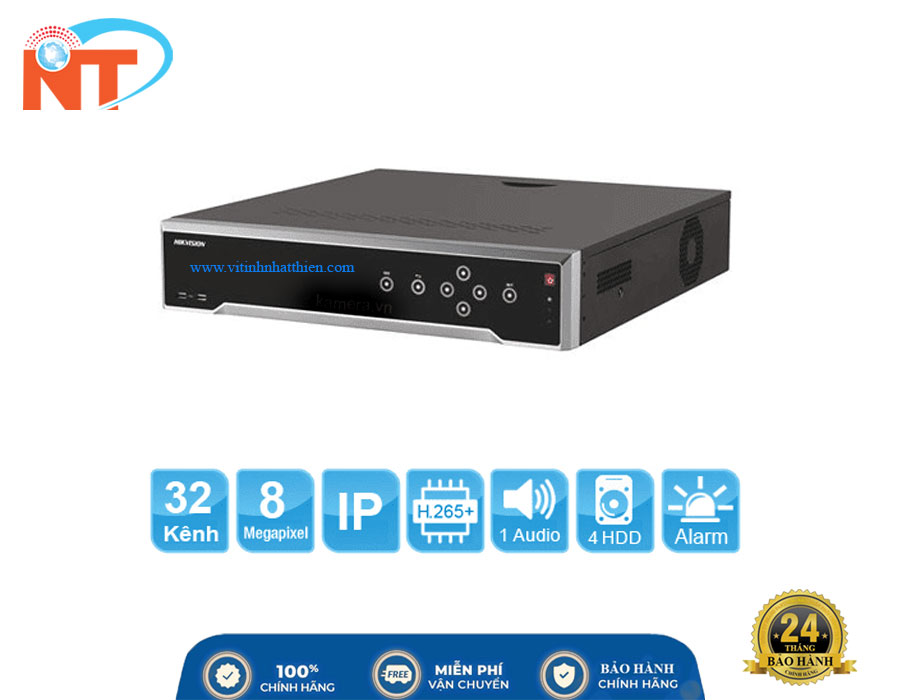 Đầu ghi camera IP 32 kênh Hikvision DS-7732NI-K4 HD 8MP, 4 Sata, Audio/Alarm, 2 LAN 1GB