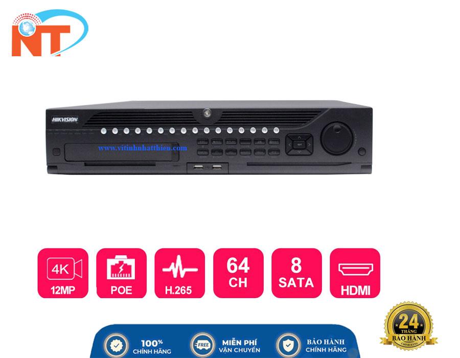 Đầu ghi camera IP 64 kênh HIKVISION DS-9664NI-I8, 8 sata HDD, HDMI, VGA,eSATA Free DDNS