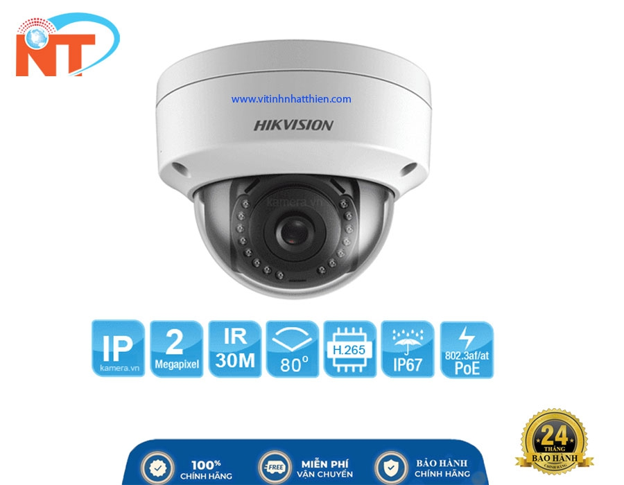 Camera IP HIKVISION DS-2CD1123G0E-I  2.0 Megapixel - Hỗ trợ PoE