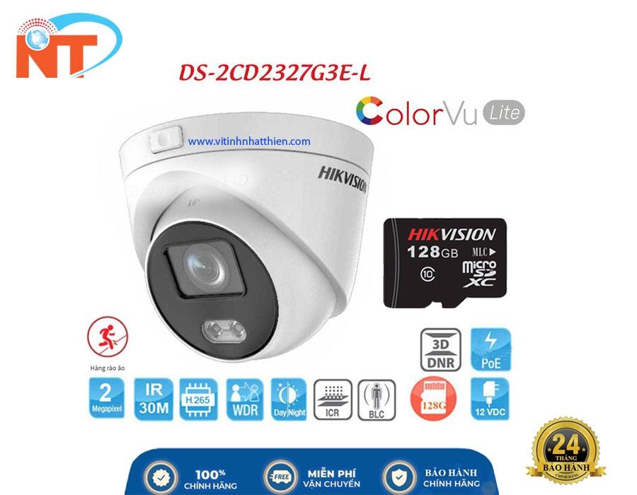 Camera IP Dome COLORVU HIKVISION DS-2CD2327G3E-L 2.0 Megapixel, hỗ trợ thẻ nhớ và Poe