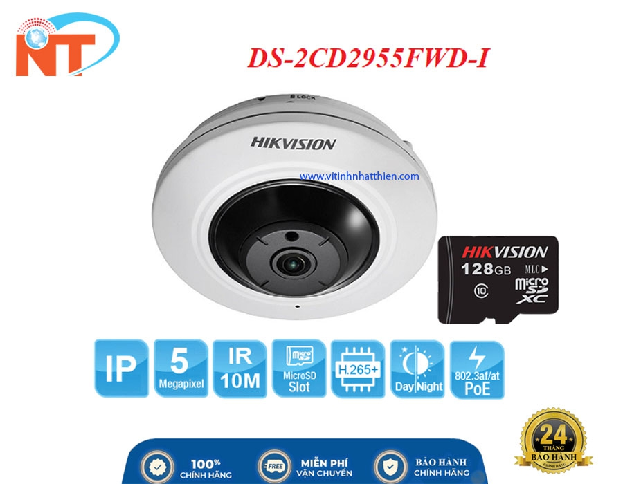 Camera IP Fisheye hồng ngoại HIKVISION DS-2CD2955FWD-I  5.0 Megapixel