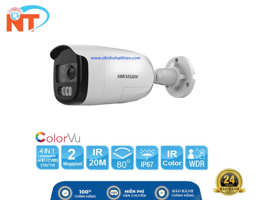 Camera quan sát Analog HIKVISION DS-2CE12DFT-PIRXOF, 2.0 Megapixel, có màu ban đêm, tích hợp đèn còi