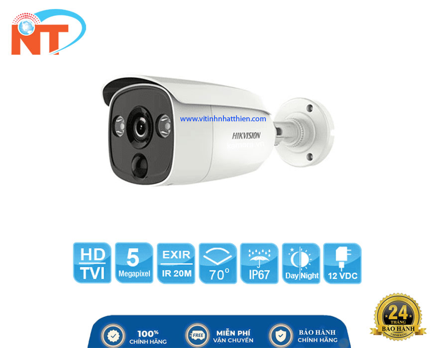 Camera HD-TVI Analog HIKVISION DS-2CE12H0T-PIRL, 5.0 Megapixel