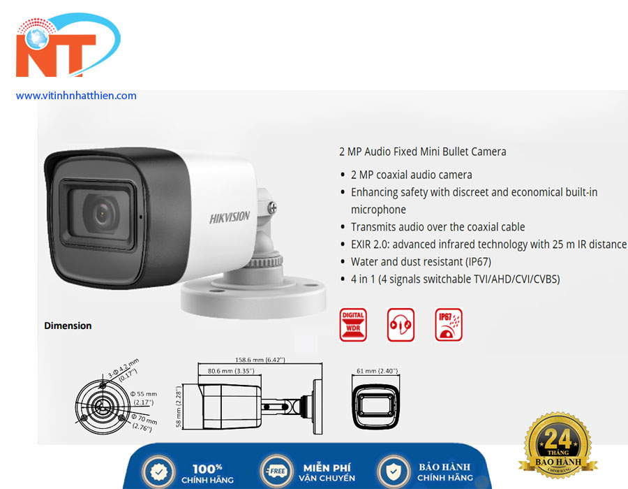 Camera HD-TVI Analog HIKVISION DS-2CE16D0T-ITPFS 2.0 Megapixel