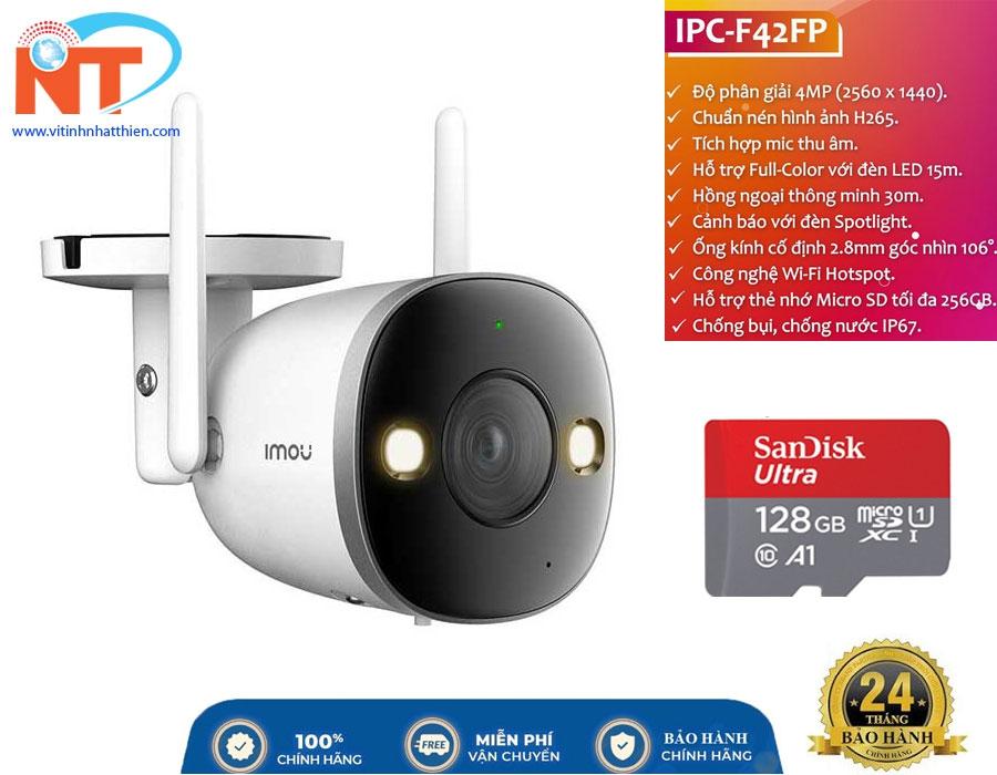 Camera ip Wifi ngoài trời IMOU IPC-F42FP 4MP tích hợp mic và đèn spotlight, phát hiện chuyển động
