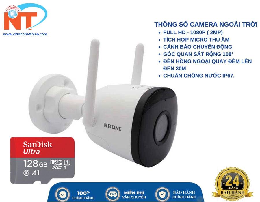 Camera IP WIFI KBONE KN-B21 (Full HD 2MP, hồng ngoại 30m, tích hợp Mic, phát hiện chuyển động)
