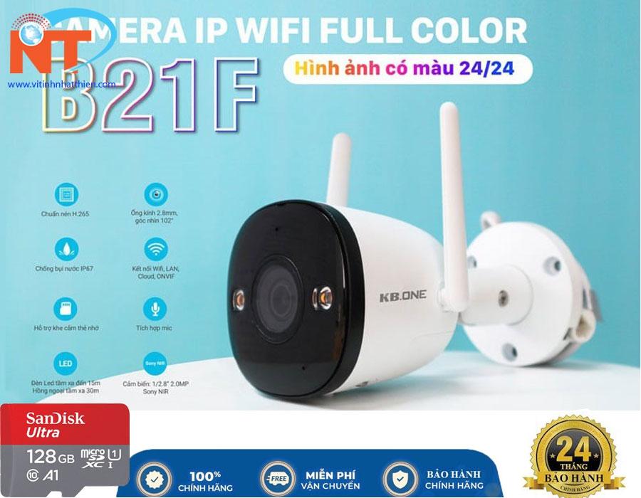 Camera IP WIFI NGOÀI TRỜI KBONE KN-B21F Full Color 2MP, tích hợp mic thu âm, ban đêm có màu
