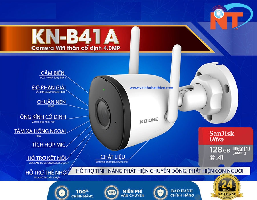 Camera ip Wifi ngoài trời KBONE KN-B41A 4MP, tích hợp mic thu âm, hồng ngoại ban đêm thông minh 30m