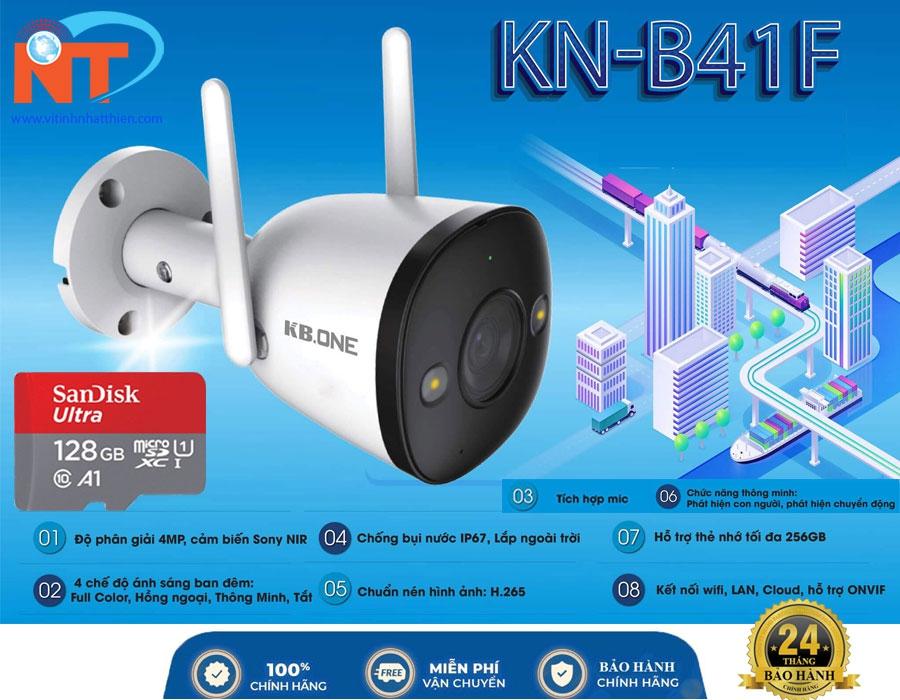 Camera quan sát ip wifi KBONE KN-B41F độ phân giải 4.0 Megapixel, full color