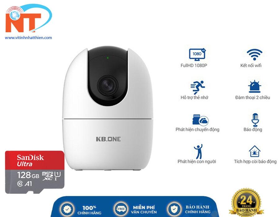 Camera IP Wifi KBONE KN-H21P 2.0 Megapixel, xoay 360 độ, tích hợp còi báo động, đàm thoại 2 chiều