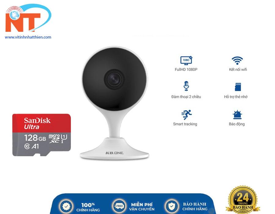 Camera IP Wifi KBONE KN-H21W 2.0 Megapixel, tích hợp còi báo động, đàm thoại 2 chiều