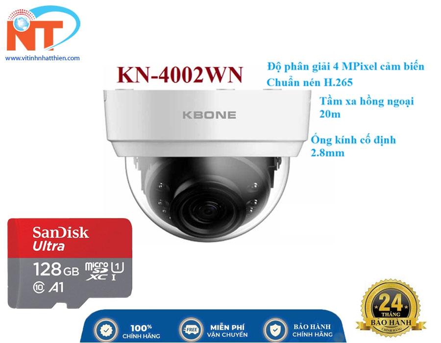Camera IP Wifi KBONE KN-4002WN 4.0 Megapixel, F2.8mm góc nhìn 135 độ