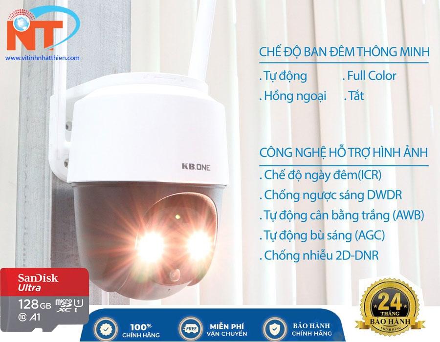 Camera ip Wifi xoay 360 độ KBONE KN-S25F Full Color 2MP, ban đêm có màu, đàm thoại 2 chiều