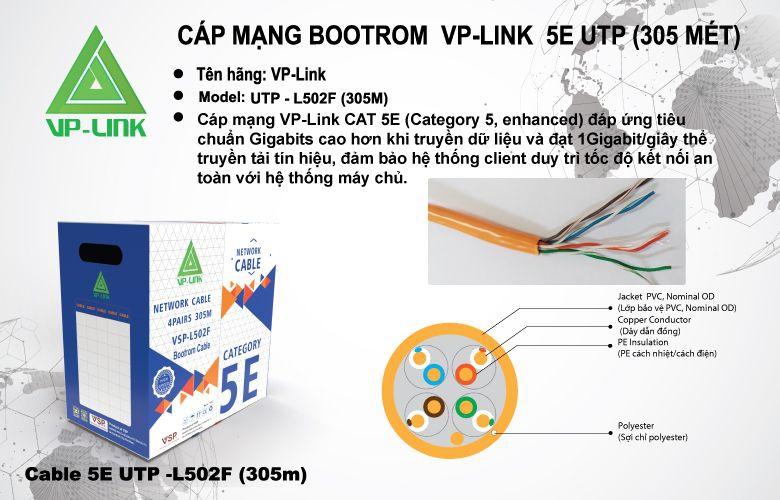 Cáp Mạng VP-LINK CAT5E 300m L502F UTP loại tốt, chuyên Bootrom dây dù trợ lực