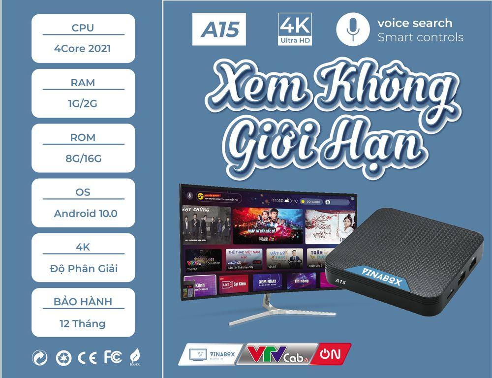 Android TiviBox Vinabox A15 Ram 2Gb Rom 16Gb