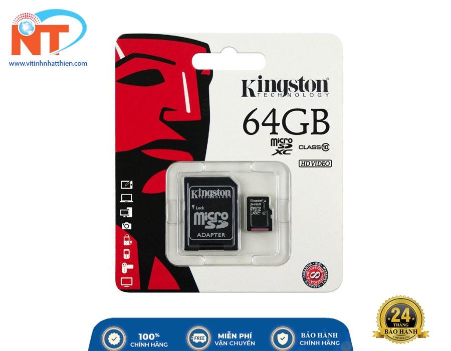 Thẻ Nhớ Micro SD Kingston 64GB Class 10, chuyên dùng cho camera IP, máy ảnh, ...