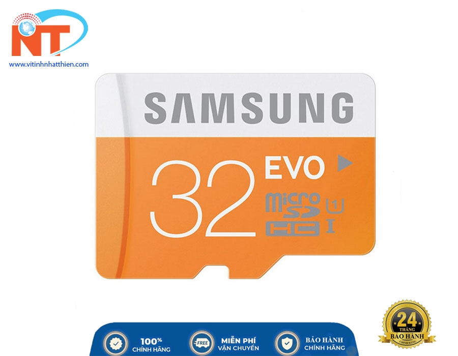 Thẻ Nhớ Micro SD Samsung Evo Plus 32GB Class 10 - 100MB/s, chuyên dùng camera IP, máy ảnh,...