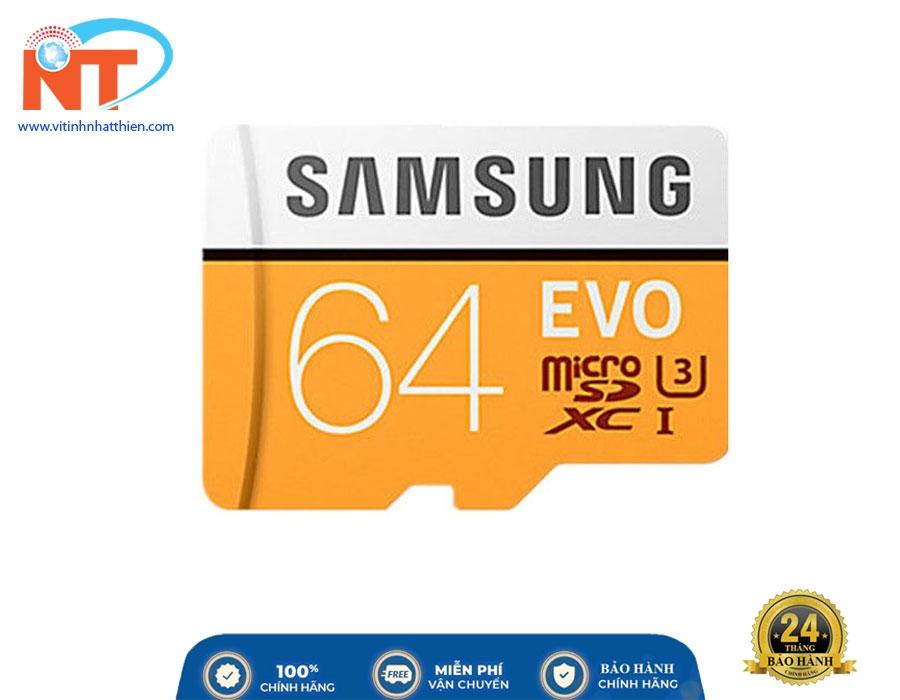 Thẻ Nhớ Micro SD Samsung Evo Plus 64GB Class 10 - 100MB/s, chuyên dùng camera IP, máy ảnh,...