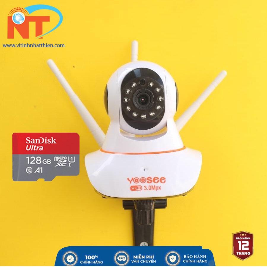 Camera IP Wifi trong nhà Yoosee 3 Râu 3.0 Megapixel, xoay 360 độ, đàm thoại 2 chiều