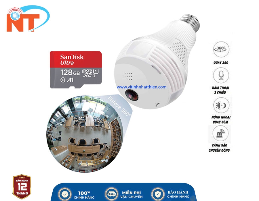 Camera ip wifi quan sát 360 hình bóng đèn Wifi Panorama, đàm thoại 2 chiều