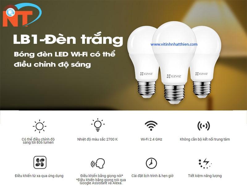 Bóng đèn Led wifi EZVIZ LB1 ánh sáng trắng, hẹn giờ, điều chỉnh độ sáng