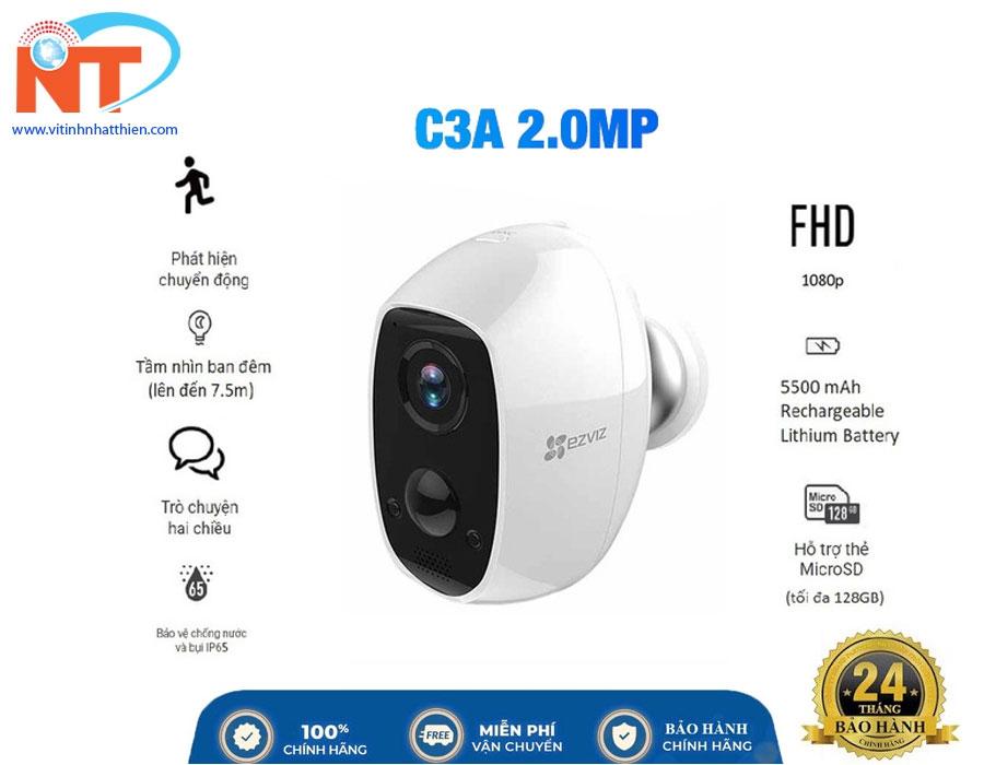Camera ip Wifi ngoài trời dùng Pin Sạc EZVIZ C3A 1080P  tích hợp cảm biến PIR