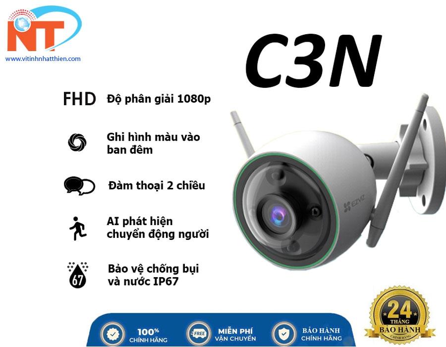 Camera ip wifi ngoài trời EZVIZ C3N 2.0 Megapixel ghi hình màu ban đêm, tích hợp AI phát hiện người