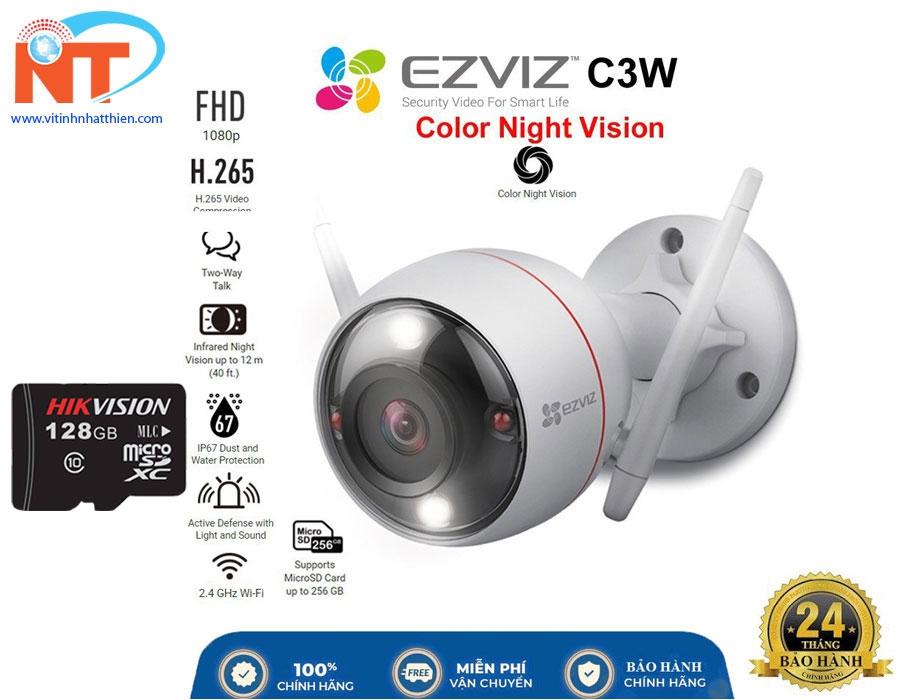 Camera ip wifi ngoài trời EZVIZ C3W Pro 2Mp Color NightVision đèn flash và còi cảnh báo, âm thanh đàm thoại 2 chiều
