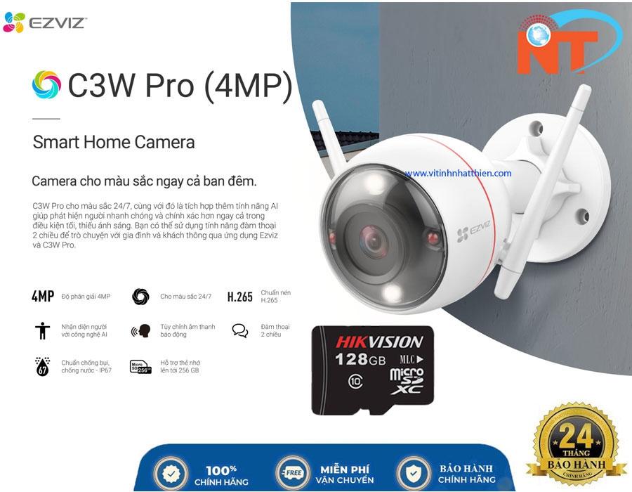 Camera ip wifi ngoài trời EZVIZ C3W Pro 4Mp Color NightVision đèn flash & còi báo động