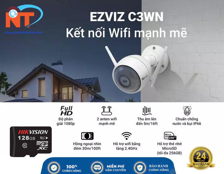 Camera Wifi ngoài trời EZVIZ C3WN 2.0 Megapixel, tích hợp mic thu âm thanh