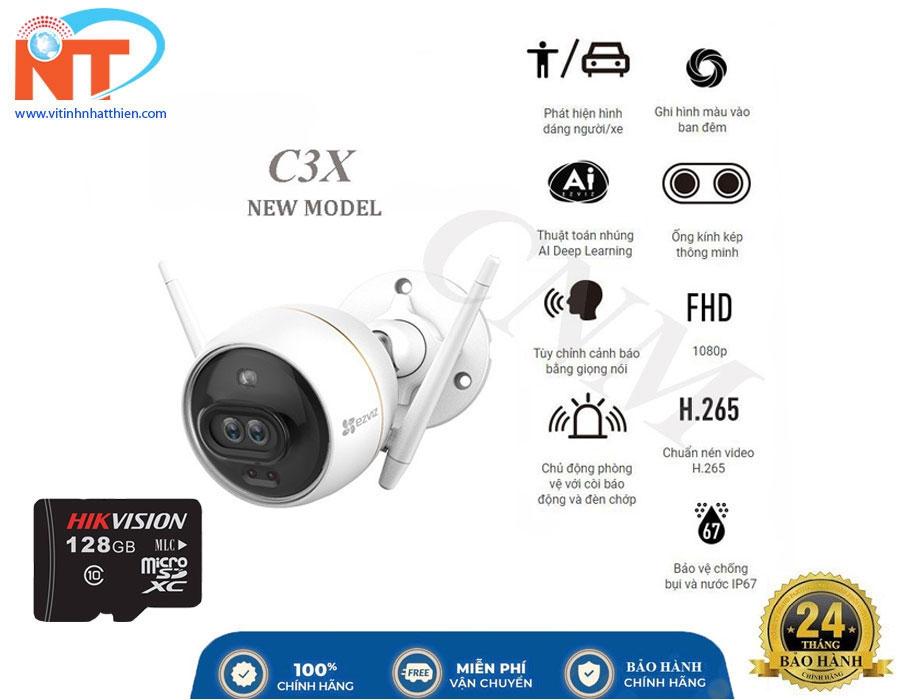 Camera IP Wifi Ngoài Trời Ezviz C3X Bản Mắt Kép Có Màu Ban Đêm, Có đèn và còi báo động