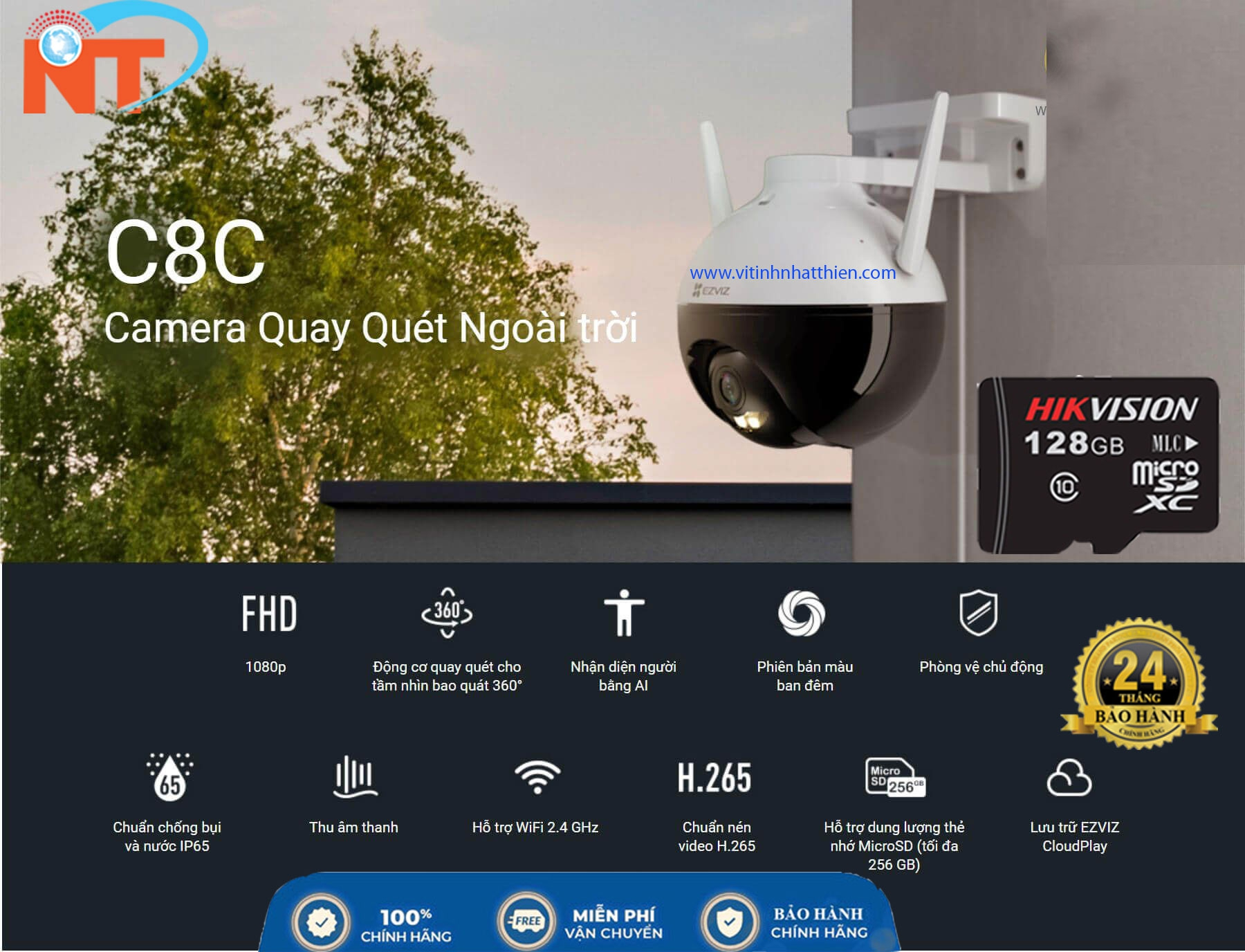 Camera ip wifi ngoài trời PTZ EZVIZ C8C 1080P nhận diện người AI, có màu ban đêm