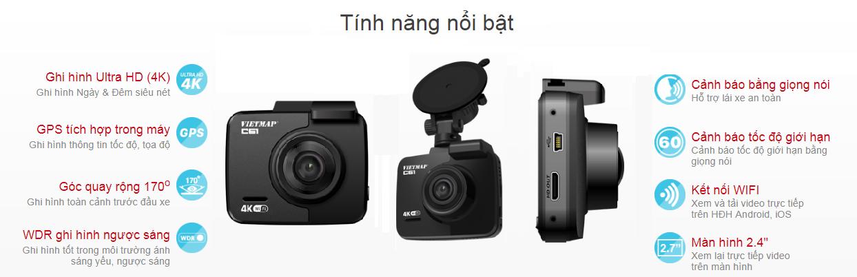 Camera Hành Trình Ô tô VietMap C61 - Ghi hình và cảnh báo giao thông
